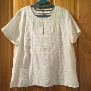 Old Navy White Pintuck Button Short-Sleeve Top, L